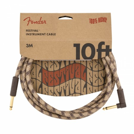 Fender Hemp Brown Stripe 3m Instrument Cable Angle