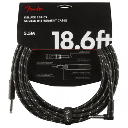 Fender Deluxe Black Tweed 5.5m Instrument Cable Angle