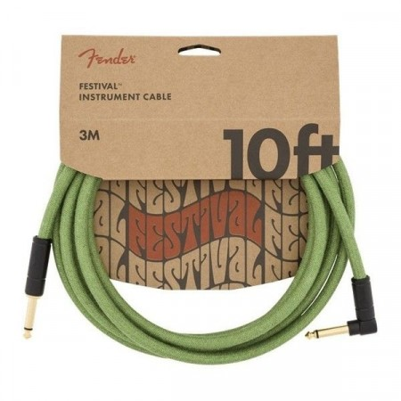Fender Hemp Green 3m Instrument Cable Angle